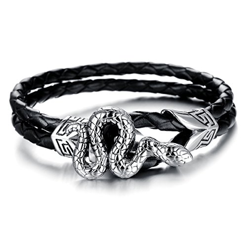 JewelryWe Schmuck geflochten Leder Edelstahl Armband, Gotik Schlange 2 Lederkette Lederarmband Damen Herren Armreif, Schwarz Silber 21,5cm, mit Geschenk Tüte (Schlange Armband)