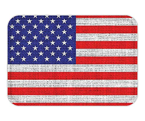 CHKWYN Doormat Decor American Usa Flag Set Fourth of July Independence Day Burlap Looking Retro Vintage Country Pastel Color Bathroom Accessorie Long.jpg 15.7X23.6 Inches/40X60cm -