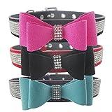 Lushpetz Hundehalsband mit Fliege mit Strass Sparkly Diamante Design by für Kleine und mittlere Hunde (Mittel, Pink und Pink)