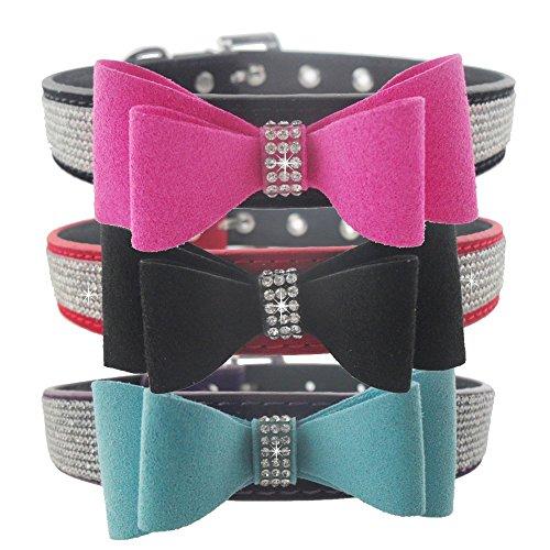 Lushpetz - Collar para perros pequeños y medianos con lazo de terciopelo y diamantes de imitación