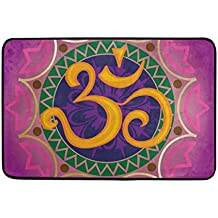 coosun Chakra Ohm con la mandala Felpudo, forma de puerta de interior al aire libre alfombra de entrada con base antideslizante., (23.6por 15.7-inch)
