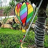 Fash Lady WHISM Large 55' Globo de Aire Caliente Spinner de Viento a Rayas Kite Rainbow Manga de Viento con Colas para Decoraciã³n de Jardãn al Aire Libre Juguete de los Niã±Os