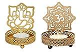 #9: One-Stop-Shop Metallic Shadow Om & Ganesha Tea Light Candle Holder (Combo Set)