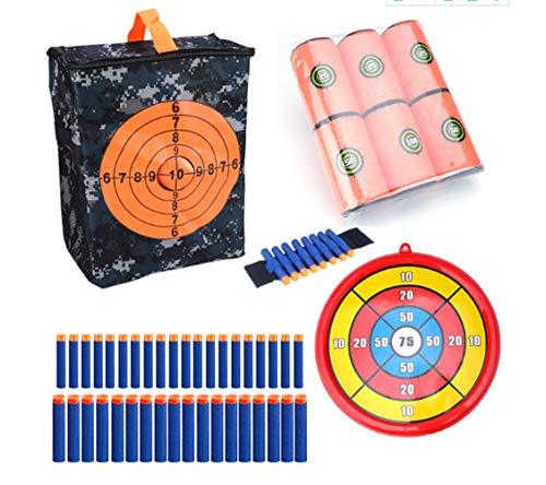 Ziel für Nerf, Zielscheibe Set für Nerf Target Pouch Aufbewahrungstasche, Target Shooting Pouch Soft Bullets Wrist Band Foam kann Ziel Bullet Clip Round Target Kit für Nerf Gun Games(Combo 2)