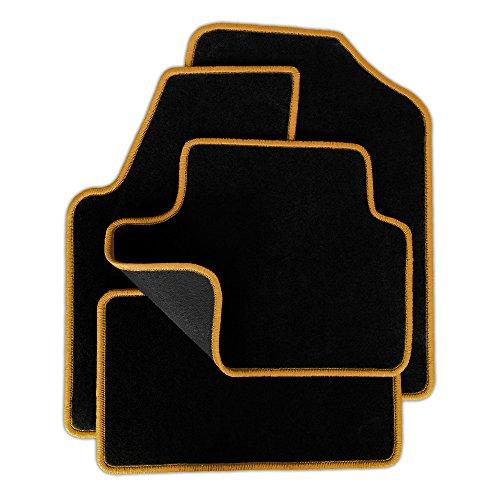 Preisvergleich Produktbild Eight Tec Handelsagentur V300ET_30383 Passgenaue Velours-Fußmatten Schwarz und Rand in Gold - Fahrzeugtyp in der Artikelbeschreibung beachten!