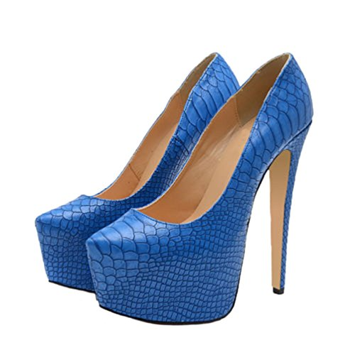 HooH Femmes Peau De Serpent Platform Stilleto Travail Escarpins Bleu