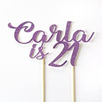 21st Birthday Custom Name and any Age Party Cake Topper. Party Cake Decoration. Personalised with Birthday Name. All Glitter Colours. New Font.