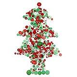 720 Stück Knöpfe Harz Knöpfe Verschiedene Knöpfe für Handwerk Nähen Dekorationen, 2 Löcher und 4 Löcher (Rot, Grün und Weiß)