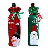 2pcs/Set MCHSHOP de muñeco de nieve y Papá Noel para botella de vino, diseño de decoraciones de mesa, bolsa para botella de vino de Navidad decoración de Navidad Navidad de regalo