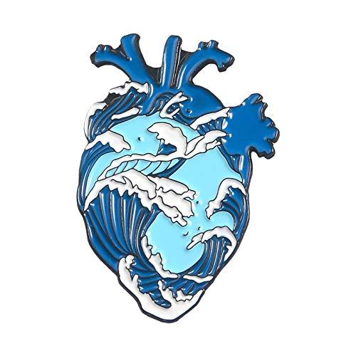 LFDHZ Ocean Wave Pin Wal Pin menschliches Herz Anatomie Emaille Pins Broschen für Frauen Jeansjacken Zubehör Sea Lover Geschenke Ocean Wave