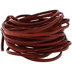 Gazechimp 5 Metro Cordón de Cuero Curtido Vegetal Accesorios Artesanía Hogar Costura Decoración Pendiente Collar Pulsera Llavero con Cuenta - Marrón