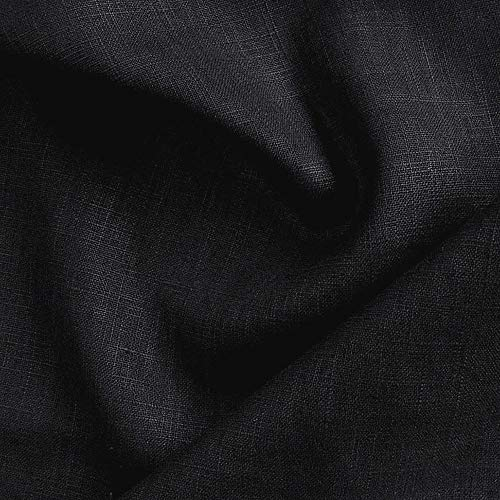 TOLKO Leinen -Stoff Meterware | blickdichter Naturstoff | für Hose, Rock, Bluse, Kleider, Gewänder | fein gewebter Dekostoff für Vorhänge, Gardinen und Dekorationen | 140cm breit (Schwarz)