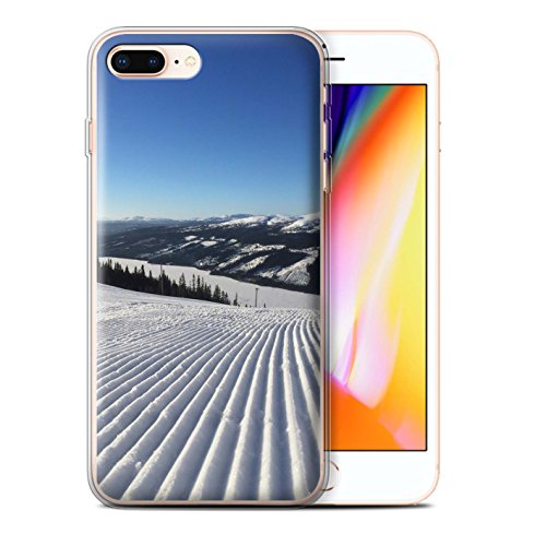 Stuff4 Gel TPU Hülle / Case für Apple iPhone 8 Plus / Pulver Tag Muster / Skifahren/Snowboard Kollektion Corduroy Spuren