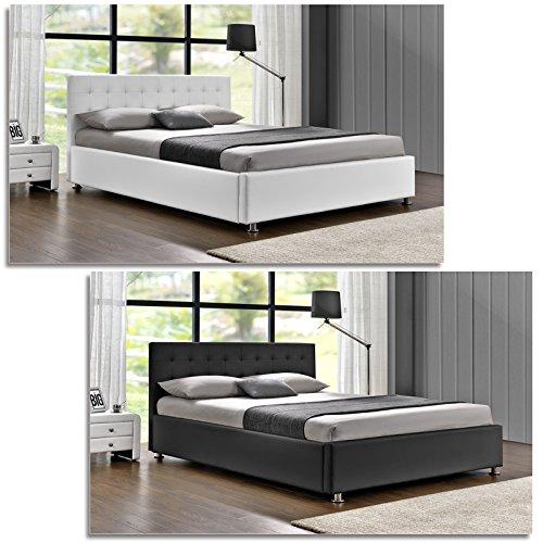 DI-LIFESTYLE Cubas Doppelbett Schwarz Oder Weiß Polsterbett Bett Lattenrost Kunstleder (Weiß, 160 x 200 cm)