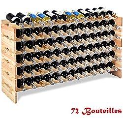 COSTWAY Porte-Bouteilles en Bois Étagère à Bouteille Cave à vin Porte-Bouteilles pour 72 Bouteilles