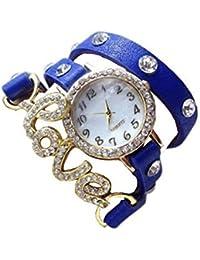 Unique Hunt | Love Dori Diamond Studed Blue Round Case Dial Blue Color Leather Love Diamond Studed Band Strap...