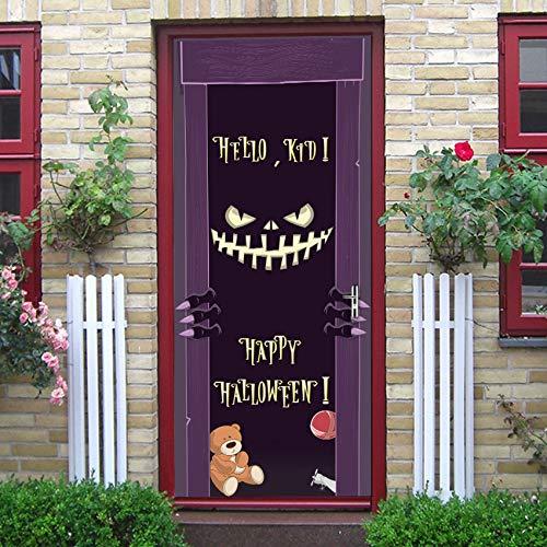 akeansa Tür Aufkleber Dämonen Lächeln Scary Effekt Halloween Wasserdichte Tür Dekorative Abziehbilder Selbstklebend Wohnkultur Wandbild Dark Cartoon77X200Cm
