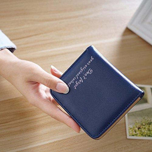 La signora breve due volte portafoglio pack card Piccolo fresco Modelli Femminili morbida Wallet Mianbao Student ( colore : Nero ) Blu navy