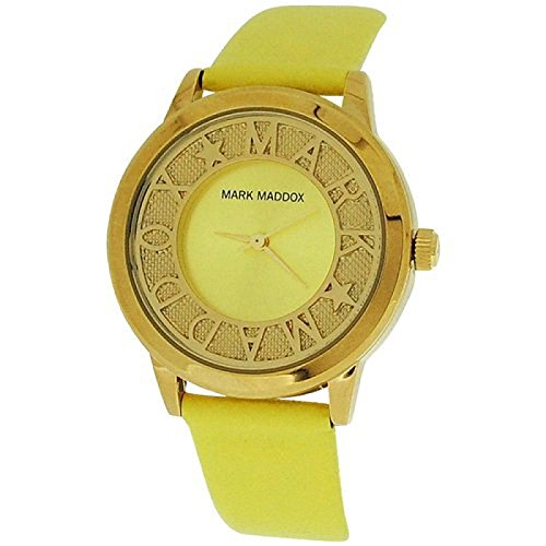 Mark Maddox Ladies Fancy Goldtone Yellow Analogue Dial PU Strap Watch MC0005-60 (Certified Refurbished)