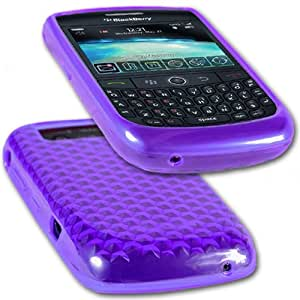 iGloo Diamond Rubber Gel Skin Case for BlackBerry 8900 Curve - Purple