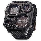 PIXNOR SHIWEIBAO Zwei Zeitzonen Sport-Armbanduhr Herren Analog Quarz Armbanduhr mit Kompass