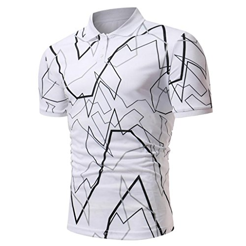 Herren Polo Shirt Hemd Knöpfe Design Halb Cardigans Slim Fit Casual T-Shirt GreatestPAK,XL,Weiß (Bowling T-shirt-designs)