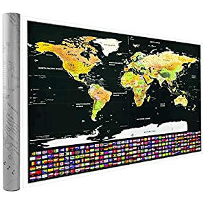 Weltkarte Zum Rubbeln Poster um Reisen grosse Rubbelweltkarte – Landkarte Zum Freirubbeln mit Geschenk-Verpackung 82.5 x 59.5 cm 1 x Schaber+1 x Bürsten