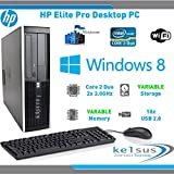 HP Eite Pro 8000 SFF Dektop Computer - Core 2 Duo 3.0GHz - Small Form Factor - Windows 8.1 - WiFi (Windows 8.1 - 8GB DDR3 - 500GB HDD)