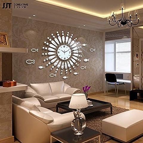 Espejo pared reloj moderno salón Reina moda estilo europeo silencioso reloj de cuarzo