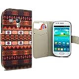 Accessory Master Fantaisie Etui en cuir pour Samsung Galaxy S3 Mini I8190 Motif Fleur Brun