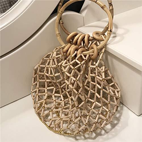 Bambus-stoff-handtaschen (WOKJBGE Rattan Tasche Ausgehöhlte Handtasche aus handgestricktem Stoff Bambus Tasche)