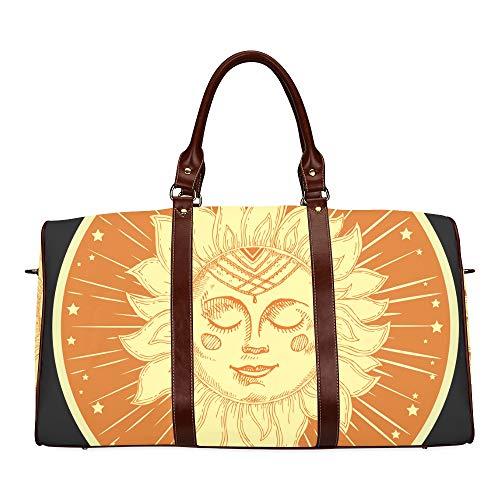 Reise-Seesack Sun Face Sunny Symbol Zeichen Symbol wasserdichte Weekender-Tasche Übernacht-Tragetasche Handtasche für Damen Damen-Einkaufstasche Mit Mikrofaser-Leder-Gepäcktasche