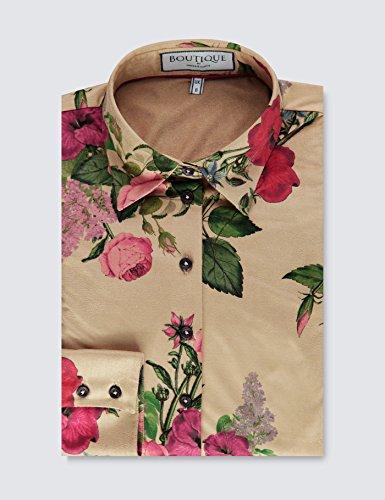 HAWES & CURTIS Boutique Bluse – Regular Fit – Wildleder Optik – Gartenblumen beige & pink