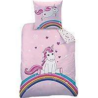 Unicornio Juego de ropa de cama reversible 135x 20080x 80cm, linón, 44965arco iris