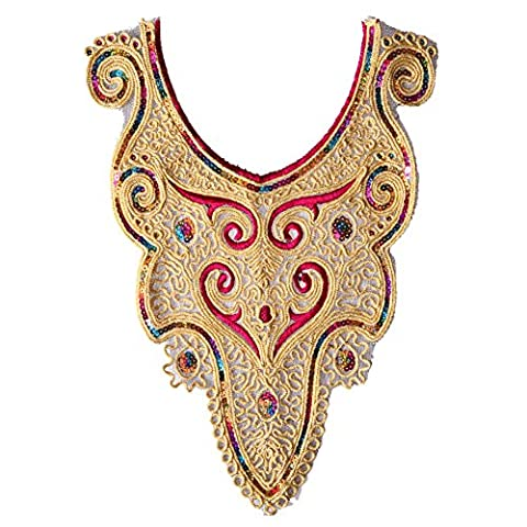 Amazingdeal365 Gold Sequin Floral Embroidered Applique Trim Decorated Lace Neckline Collar