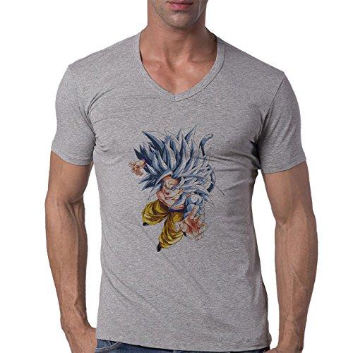 Dragon Ball Z Goku With Blue Hair Fighting Herren V-Neck T-Shirt Grau