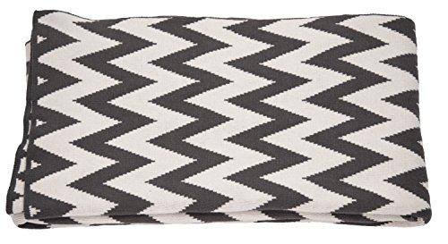 TOM TAILOR 562404 Strickplaid T-Zig Zag, 130 x 180 cm, grau / weiß