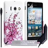 Huawei Ascend Y300 Tasche Rosa / Weiß Silikon Gel Blumen Biene Hülle Mit Auto Ladegerät