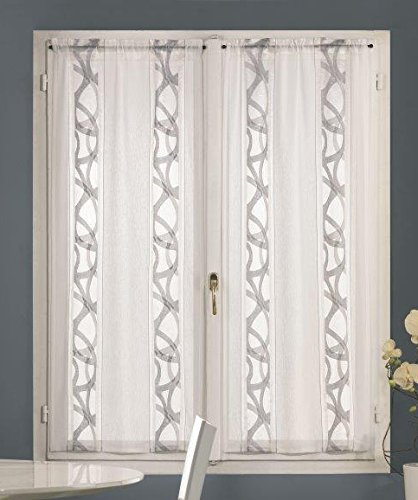 Home collection tceny129/150 tendina coppia enya, poliestere, grigio, 60x150 cm, 2 unità