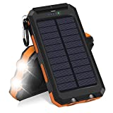 EisEyen Solar Charger, Hiluckey 10000mAh Waterproof Solar Power Bank Dual USB Portable External Battery Pack Compatible with iPhone, Samsung Galaxy And More