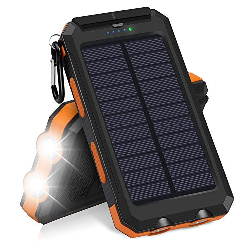 EisEyen Solar Charger, Hiluckey 10000mAh Waterproof Solar Power Bank Dual USB Portable External Battery Pack Compatible with iPhone, Samsung Galaxy and More - Portable Solar Power Packs
