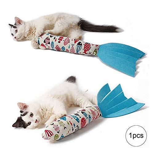 Wudi Catnip Cat Kicker Toy Fisch geformt Kitty-Stock-Kätzchen Viel Spaß mit diesem Stix Spielzeug Ton Ringing Papier Spielzeug für Katzen Cremefarbig -