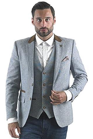 Mens Marc Darcy Designer Sky Blue Heritage Tweed Velvet Contrast Blazer - 46R