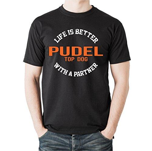 Siviwonder Unisex T-Shirt PUDEL - LIFE IS BETTER PARTNER Hunde Schwarz