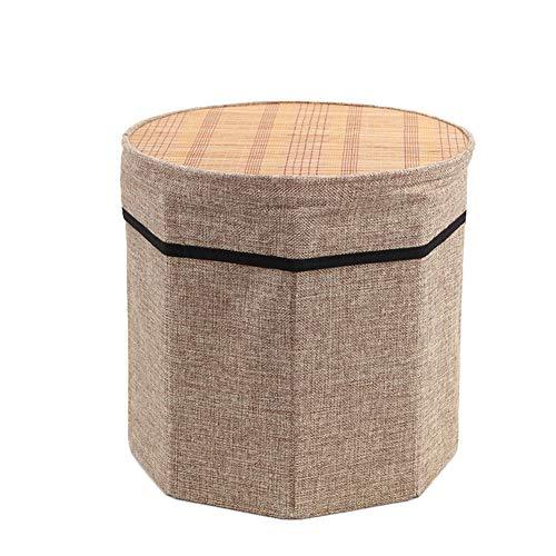 TENCMG Sechseckiger faltender Aufbewahrungsfußhocker, Summer Cool Bamboo Cover Foothool,B,28x31cm -
