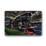 Felpudo Clásico decorativo Felpudo Negro y Rojo de locomotora de vapor personalizado no. 01antideslizante Felpudo de interior/exterior (23,6* 16,7)