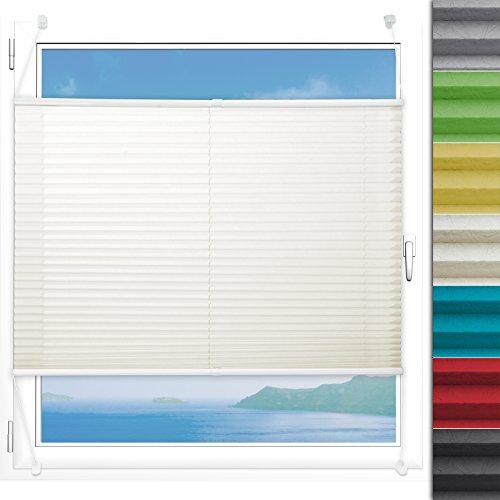 Plissee Rollo Magic | moderner Sichtschutz mit Crushed Optik | Fensterrollo mit Klemmfix ohne Bohren | Klemmrollo Größen (Creme Weiß - 100 cm breit und 150 cm lang)