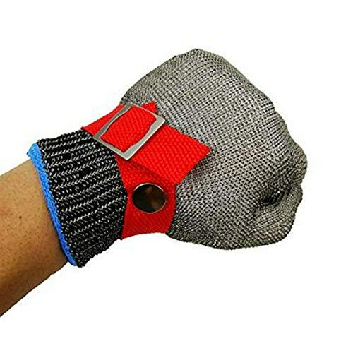 GuDoQi Schnittschutzhandschuhe mit Weiße Stoffhandschuhe Schnittfeste Lebensmittelecht Handschuhe Edelstahl Metall Mesh Sicherheit Schneiden Proof Stab Resistent Level 5 Schutz Größe Xl -