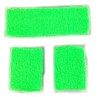HEADBAND & WRISTBANDS SWEATBAND SET - NEON 80S FUN RUN TEAM BUILDING EVENT FANCY DRESS (GREEN)