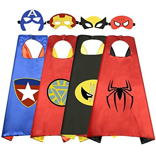 Tisy Draussen Spielzeug für 3-10 jährige Jungen Mädchen, Spaß Cool Karikatur Superheld Umhänge Kostüme für Kinder Geburtstagsgeschenke Geschenke für 3-10 Jährige Jungen Mädchen Spielzeug Alter - Coole Superhelden Kostüm Mädchen